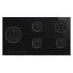 Pliidiplaat Smeg DolceStilNovo, 5x gaas, 90 cm, lõigatud serv, must klaas/RV-teras