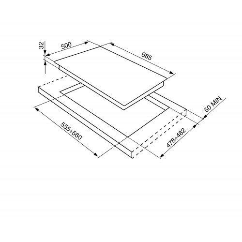 Gaasiplaat Smeg, Victoria, 5x põletit, 70cm, RV teras