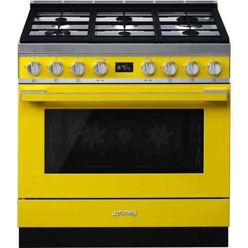 Gaasipliit Smeg, Portofino, 6 x gaas, elektriahi, 90 cm, pürolüüs, kollane