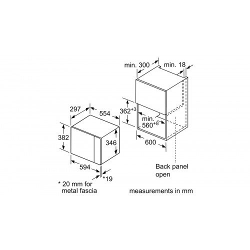 Mikrolaineahi Bosch, integreeritav, 20 l, must/rv teras, 800 W