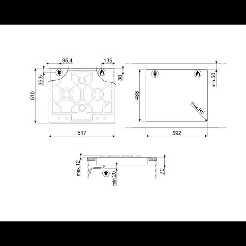 Pliidiplaat Smeg Linea + Classic, 4 x gaas, 62 cm, RV teras