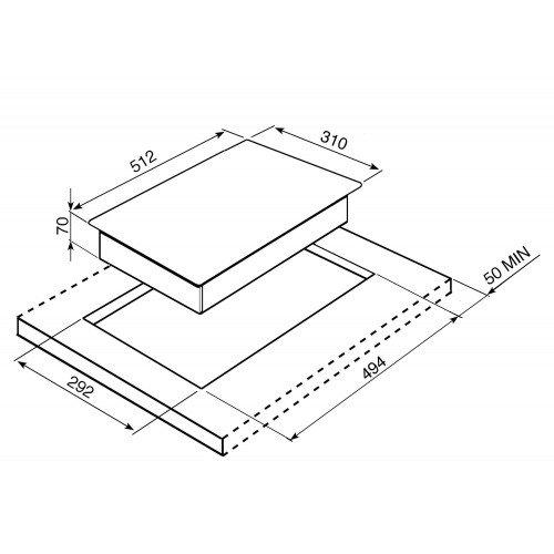 Pliidiplaat Smeg, Linea + Classic, Domino, 2 x gaas, 31 cm, RV teras