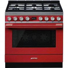 Gaasipliit Smeg, Portofino, 6 x gaas, elektriahi, 90 cm, aurupuhastus, punane