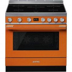 Induktsioonpliit Smeg, Portofino, 5 x induktsioon, elektriahi, 90 cm, pürolüüs, oranž