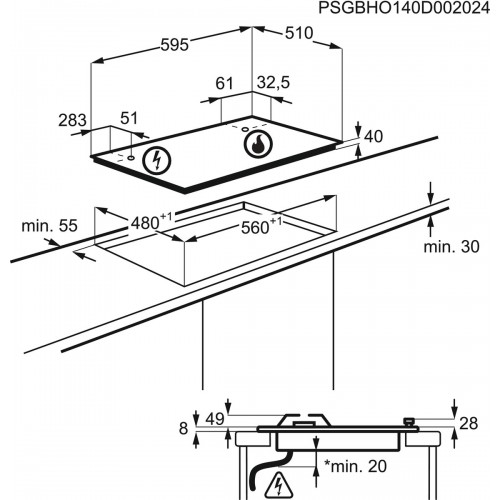 Pliidiplaat Electrolux, 4 x gaas, 60 cm, rv-teras