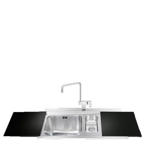 Valamu Smeg Linea, 89,7 cm, harjatud RV-teras, lõikelaud must klaas
