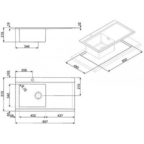 Valamu Smeg, Elite, 89,7 cm, pealt paigaldatav, harjatud rv-teras