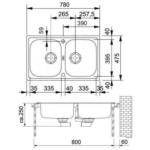 Valamu Franke EFX 620-78 valamu , roostevaba teras sile, pööratav (2 puuritud auguga)