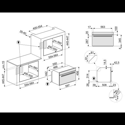 Kompakt kombi-mikroahi Smeg DolceStilNovo, TFT, aurupuhastus, must/vask