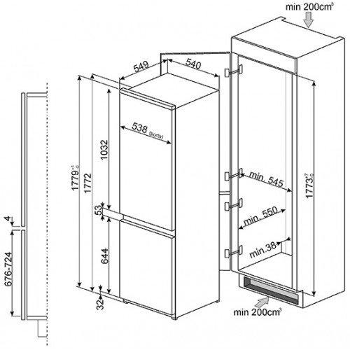 Külmik Smeg, integreeritav, 178cm, A+, 36 dB, mehaaniline juhtimine