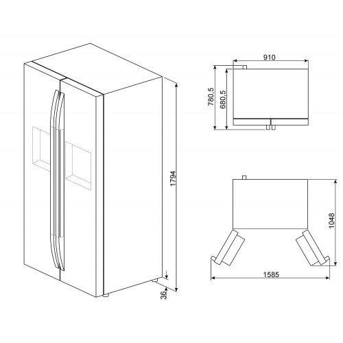 Külmik Smeg, Side-by-Side, 182cm, A+, 43 dB , RV teras, puutetundlik