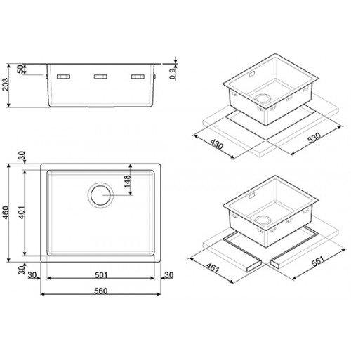Valamu Smeg, integreeritav, 50 cm, pealt, RV-teras