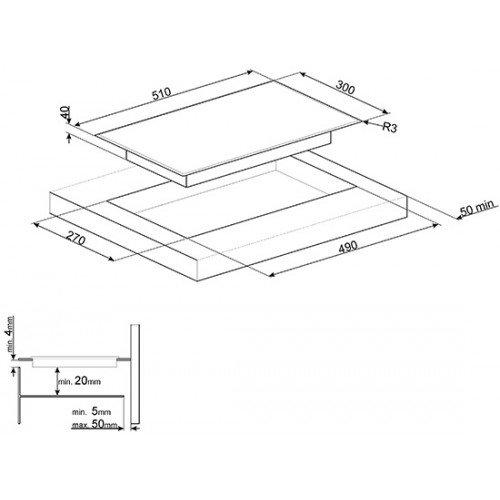 Pliidiplaat Smeg, Domino, 2 x HighLight, 30cm, must, faasitud serv