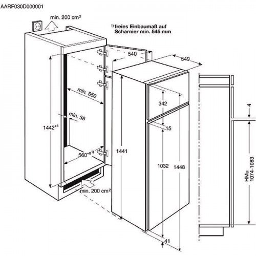 "Külmik Electrolux ""Jenkki"", integreeritav, 144 cm, A+, 36dB, mehaaniline juhtimine"