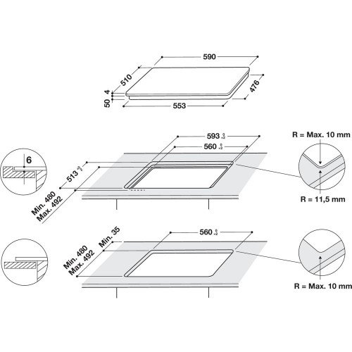 Pliidiplaat Whirlpool, 4 x induktsioon, flexi tsoon, 59 cm, must
