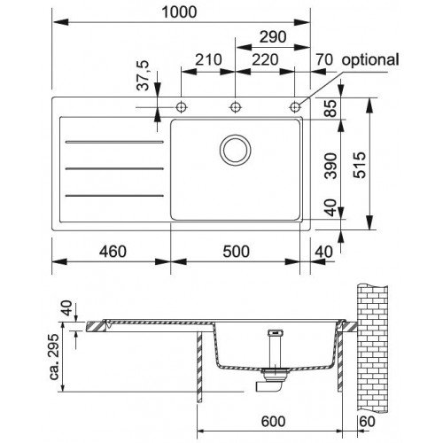 Valamu Franke MTF 611-100 sealh.ventiil ja nõrutuskauss,  kauss paremal
