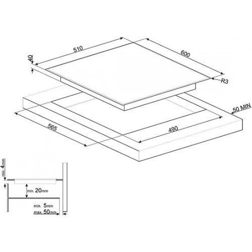 Pliidiplaat Smeg, 4 x HighLight, 60 cm, must, faasitud serv