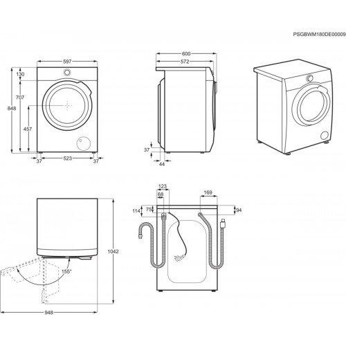 Pesumasin Electrolux, eestlaetav, 8 kg, A+++, 1400 p/min, inverter, valge