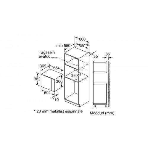 Mikrolaineahi Bosch, integreeritav, 25 l, must, 900 W