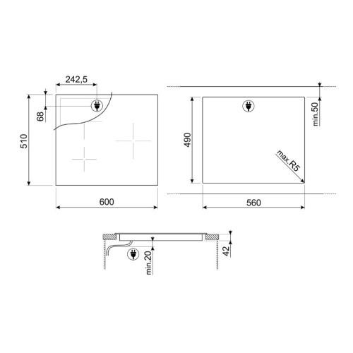 Pliidiplaat Smeg, 3 x HighLight, 60 cm, must, faasitud serv