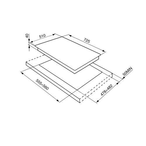 Pliidiplaat Smeg Linea, 5x gaas, 70 cm, RV teras