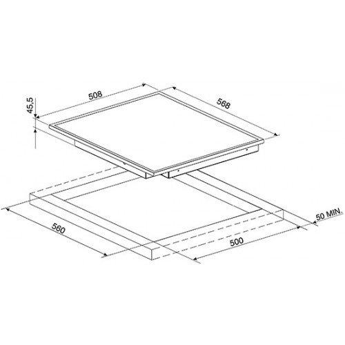 Pliidiplaat Smeg, 4 x HighLight, 60 cm, must, rv raam