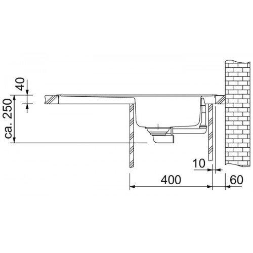 Valamu Franke EFX 621 valamu , roostevaba teras sile, pööratav (2 puuritud auguga)