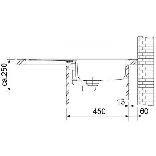 Valamu Franke EFN 614-78 valamu , roostevaba teras matt, pööratav (tööstusversioon)