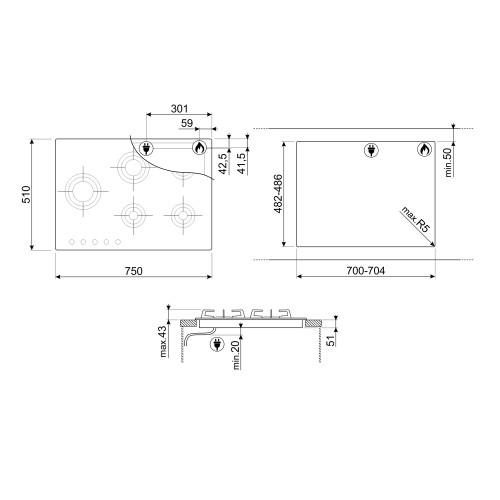 Pliidiplaat Smeg DolceStilNovo, 5x gaas, 75 cm, RV teras