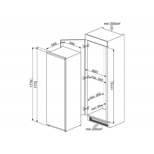 Salongi näidis! Sügavkülmik Smeg, integreeritav, NoFrost, 178cm, A++, 39 dB, puutetundlik