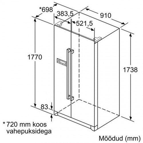 Külmik Bosch, Side-by-side, 177cm, A+, 44dB, elektrooniline juhtimine