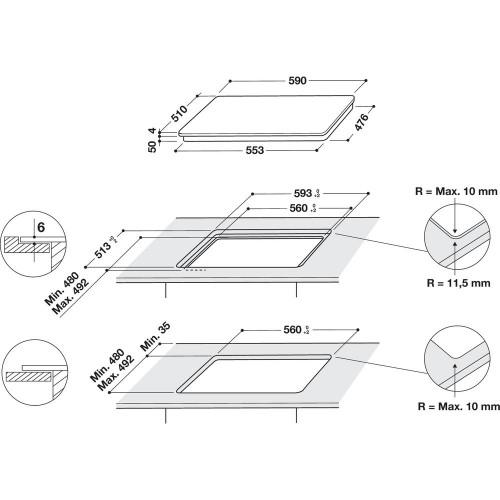 Pliidiplaat Whirlpool, 4 x induktsioon, flexi tsoon, 58 cm, valge