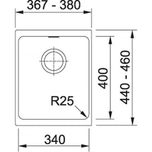 Valamu Franke KBG 110-34 sh ventiil (käsitsi), onyx