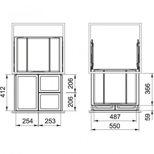 Sorter Franke FX 60 (26 l + 2x 11 l)