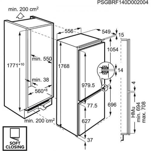 Külmik Electrolux, integreeritav, 178cm, A++, 35dB, puutetundlik