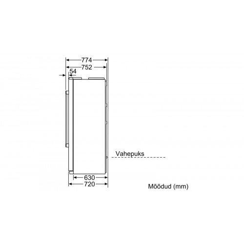 Külmik Bosch, Side-by-side, 177 cm, NoFrost, A+, 43 dB, elektrooniline juhtimine, rv-teras