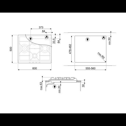 Pliidiplaat Smeg Selection, 4 x gaas, 60 cm, rv teras