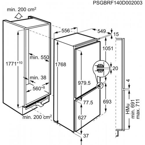Integreeritav külmik AEG, 177 cm, 36 dB, 188/72 l, valge