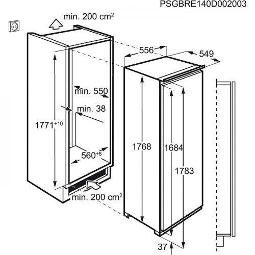 Külmik AEG, integreeritav, 178 cm, A++, 36 dB, valge
