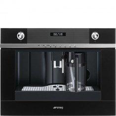 Espresso kohvimasin Smeg, integreeritav, automaatne piimavahustaja, Linea, must klaas