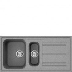 Valamu Smeg, 100 cm, RIGAE, pealt paigaldatav, käsitsi, graniit, hõbehall