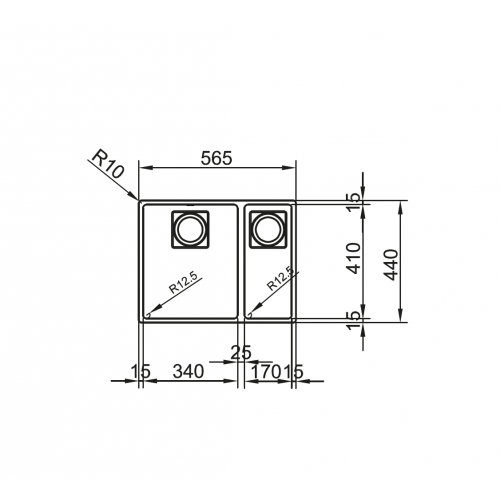 Valamu KWC ZOE 260-34-17, 2 kaussi, rv teras