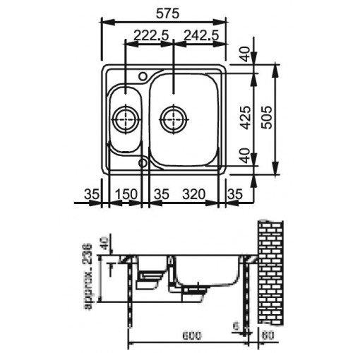 Valamu Franke MOX 660 valamu , roostevaba teras sile, pööratav (2 puuritud auguga)