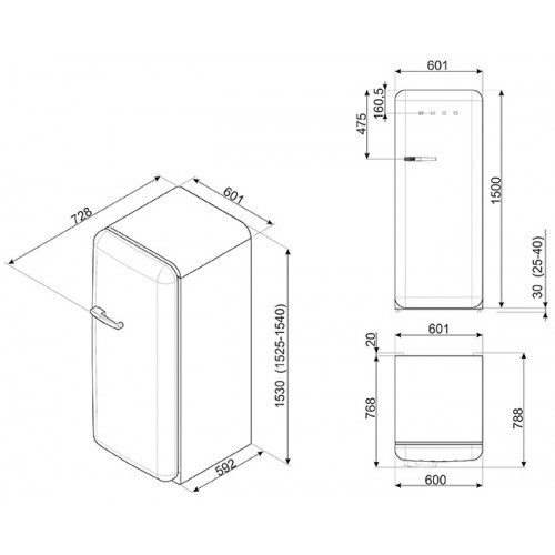 Külmik Smeg, 50-ndate stiil, 151 cm, A+++, 38 dB, elektrooniline juhtimine, kollane