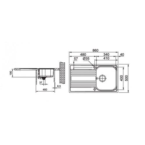 Valamu Franke RAPID RPX 611 (sh. ventiil), pööratav, poleeritud rv teras