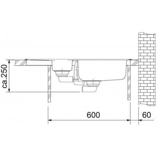 Valamu Franke EFX 651-78 valamu , roostevaba teras sile, pööratav (2 puuritud auguga)