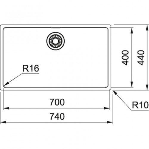 Valamu Franke MARIS, MRX 110-70 sealh. ventiil, käsitsi avatav, vääristeras