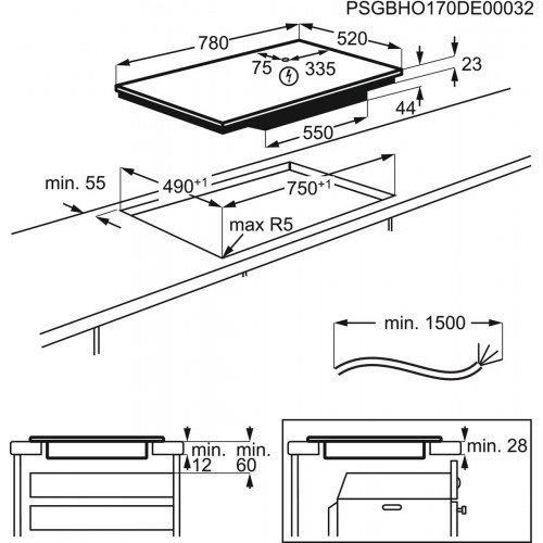 Pliidiplaat Electrolux, 4 x induktsioon, 78 cm, Hob2Hood, faasitud esiserv, must