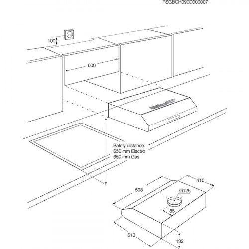 Õhupuhastaja Electrolux, integreeritav, 60 cm, rv teras