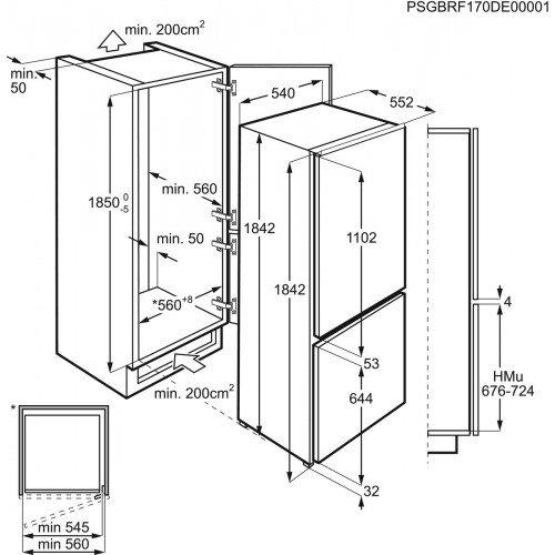 Külmik Electrolux, integreeritav, NoFrost, A+, 185 cm, elektrooniline